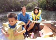 Dr Nguyen Phi Hung with his family in Australia during his PhD course in Sydney